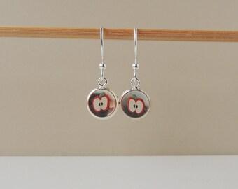Red Apple Earrings, Fruit Charm Earrings, Resin Jewelry Jewellery, Food Drink Jewelry, Fruit Earrings, Quirky Kitsch Jewellery, UK (1867)
