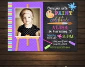Painting Party Birthday Invitations, Printable File, Art Party Birthday, Girls Painting Birthday, Painting Party