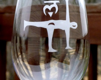 Etched Wine Glasses - Yoga Half Moon Pose with Root Chakra - Vino and Vinyasa - Set of Two