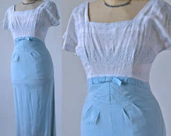50's/60's Blue and White Wiggle Dress Richard Frontman Embroidered Cotton Linen size Small