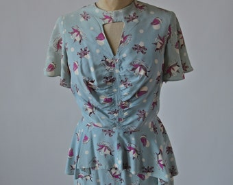 30's/40's Swan Novelty Print Dress Peplum and Tie Back Size Small