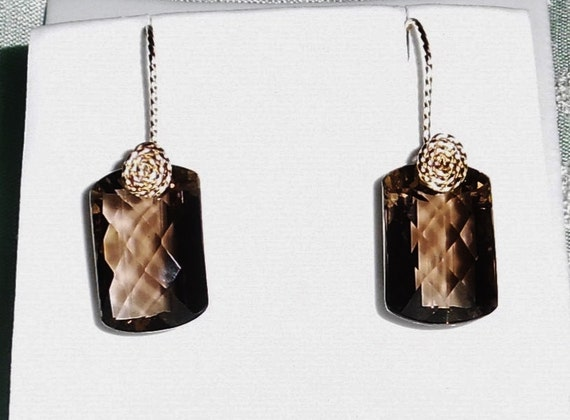 24 cts Natural Cushion Smokey Quartz gemstones, 14kt yellow gold Pierced Earrings