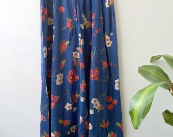 90's High Waisted Blue Floral Skirt - Small
