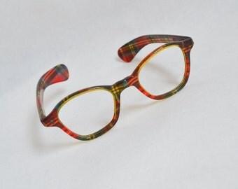 1950s Red tartan spectacle frames / 50s novelty sunglasses eyeglasses