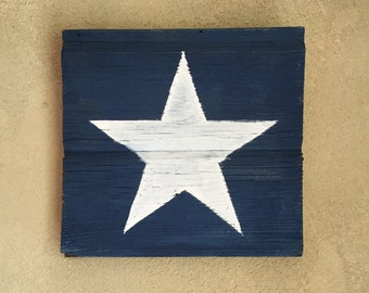 Rustic Barn Wood Wall Decor  • Blue and White Star Silhouette Wall Art • Wooden Chalk Paint Wall Hanging • Ready to Ship