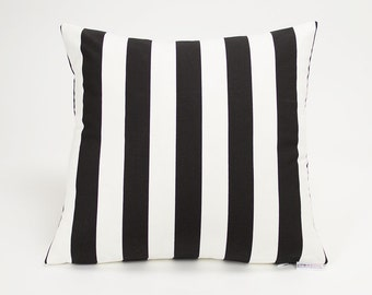 Black and White Striped Throw Pillow Cover - 16 inch