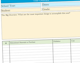 Organize Your Homeschool Year - Year Round Homeschool Planner - Goals, Curriculum, Book Lists, Week-by-week Planning, and Grade Record Pages