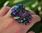 Hologram Rainbow Titanium Quartz Ring