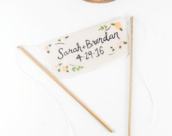 Wedding Cake Banner - rustic cake topper with wedding date - custom banner with names cake topper - rustic bunting flag wedding topper