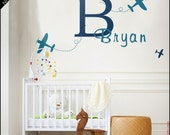 Kid Name Wall Decal : Your own kid first name with large initial. Bespoke monogram sticker. Name with planes. Old plane decal. Font choice