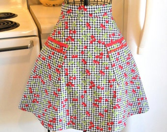 Womens Vintage Style Half Apron in Black Gingham Checks with Cherries