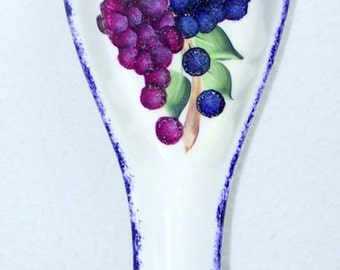Spoon Rest with hand painted grapes