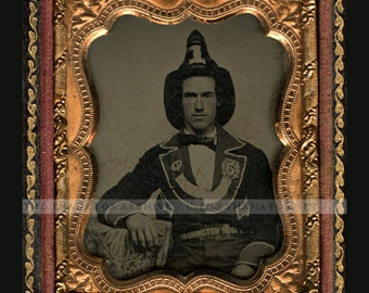 RESERVED Do Not Buy .. Amazing 1850s Ambrotype Photo of a Handsome Fireman Washington Hose #1
