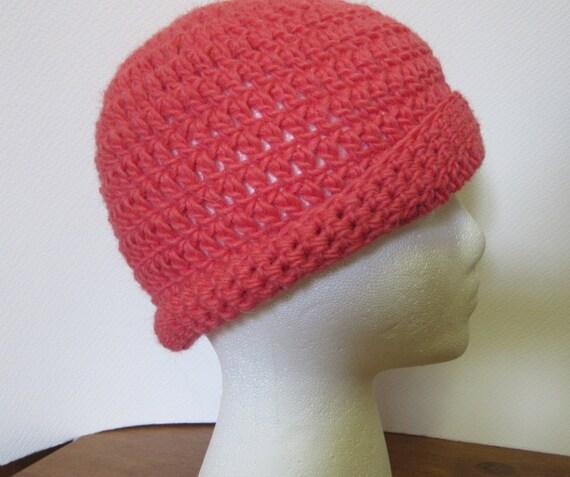 Coral Pink Hat Llama/Wool Cap Woolen Cloche Beanie