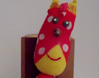Red Sock Cat with White Polka Dots and Yellow Trim, Trim Sock Cat Made From a Yellow, Red, and White Sock.  Adorable Hipster Sock Cat