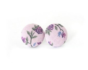 Floral fabric earrings - bright violet button earrings - tiny purple stud earrings