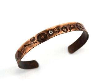Copper Steampunk Cuff Bracelet, Copper Cuff,  Watch Parts Cuff, Etched Copper