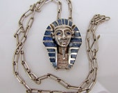 Mexican Plata 980 Silver King Tut Pendant Necklace. Taxco Blue Lapiz Inlay Mask Head. Art Deco Sterling Paper Clip Chain. Egyptian Revival