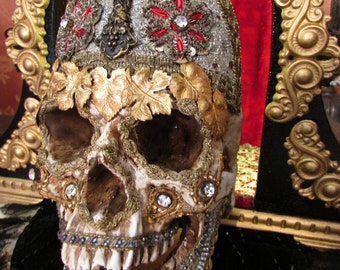 Madonna Enchanted Day of the dead jeweled skull shrine lighted altar creepy ooak antique memento mori metallic crown assemblage Halloween