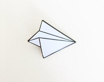 Paper Airplane Enamel Pin - Paper Plane Brooch