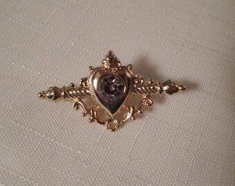 1928 BRAND BROOCH / Amethyst Rhinestone Pin / Unisex / Designer / Regency / Victorian / Edwardian / Downton Abbey / Retro / Chic Accessory