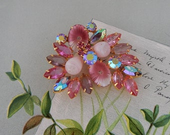 Pink JULIANA Pillowcase Art Glass Rhinestone Brooch   NBI30