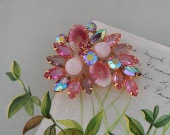 PINK Juliana Pillowcase Art Glass Rhinestone Brooch