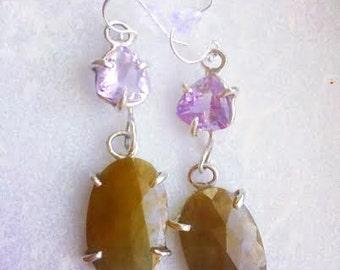 Amethyst Sapphire & Silver Earrings - sapphire dangle earrings - fancy earrings - silver claw earrings - amethyst earrings - boho earrings