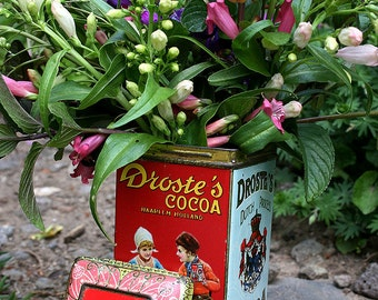 Droste's Cocoa Haarlem Holland Tin 8 Oz  Made In Holland Great Home Decor Rare and Vintage