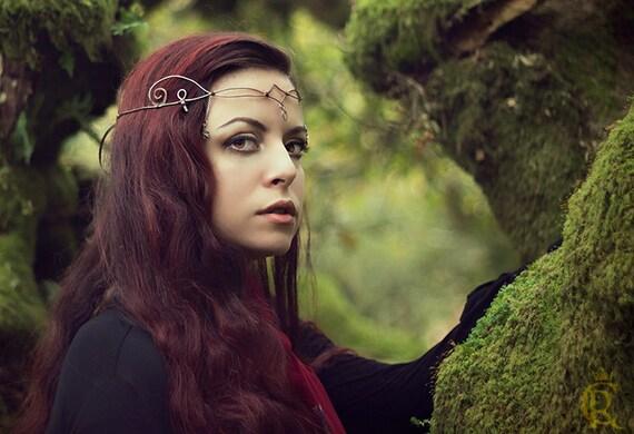 Sindar elven crown tiara circlet  wire wrapped, wire tiara, Headband, Crystal Wire Fashion Tiara, Elvish tiara, crown, green tiara