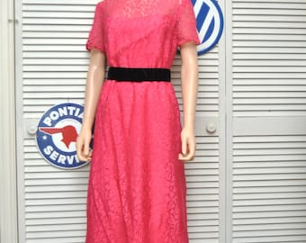 Vintage 50s 60s Womens Teens Formal Dress/Fuschia Hot Pink/Mid Century Full Length/Lace Satin/Prom Costume Theater/Small 4-6/OOAK/Handmade
