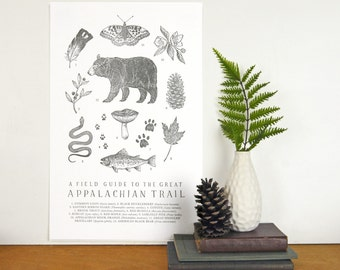 Appalachian Trail Field Guide Letterpress Print