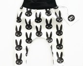 Bunny Harem Leggings Organic Cotton Unisex Monochrome Easter