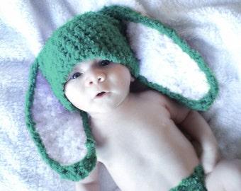 SALE 0 to 3m Newborn Bunny Hat, Jade Baby Hat, Bunny Hat, Baby Shower Gift, Newborn Bunny Ears, Boy Girl Newborn Hat, Newborn Prop