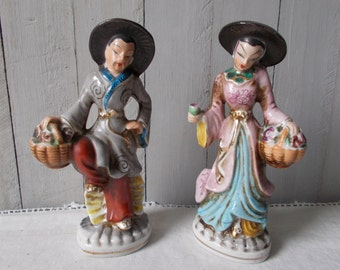 Occupied Japan Porcelain Oriental Couple Figurines