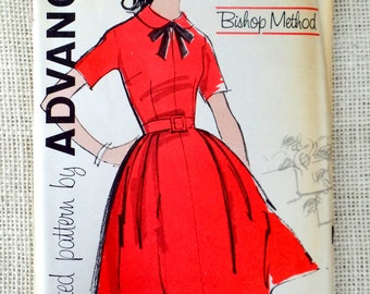 Vintage 1950s Pattern Dress Advance 9884 Uncut Bust 33 Full Skirt Peter Pan collar Rockabilly belted Uncut