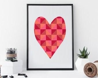Love Heart Art Print For Valentines -  Valentine's Gift - 8 x 11 Print - A4 -