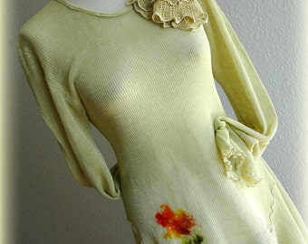 Olive Green Tunic With LINEN Knitted With Felt Flower Application and Mittens