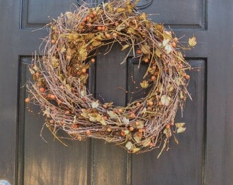 Tiny Pumpkins Fall Wreath, Autumn Leaves Wreath, WREATHS, Handmade Fall Wreaths, Thanksgiving Wreaths, Autumn Pumpkin Wreath