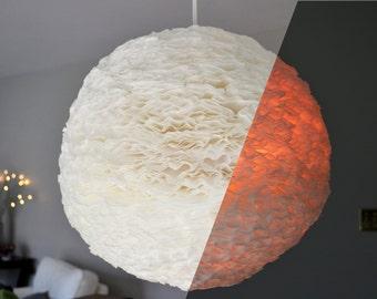 White / Pink Spherical Ruffled Paper Pendant Light