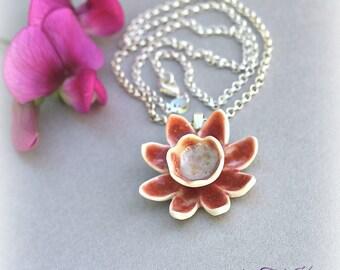 """Porcelain Red Flower Necklace """"BornToSpring"""", Handmade Porcelain pendant necklace, gift for her, Red flower chain necklace, Pink pendant"""
