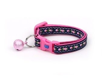 Floral Cat Collar - Pink Flowers and Lace on Navy Blue - Kitten or Large Size