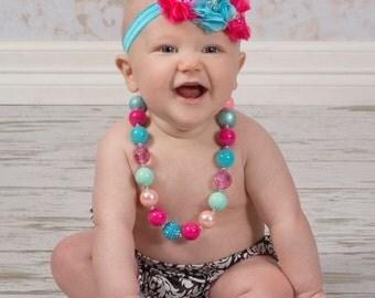 Hot Pink & Turquoise Chiffon Headband/Baby Shabby Headband/Flower Headband/Pink Headband/Baby Headband/Rhinestone Headband/Girls Headband