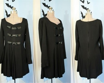 Darling 1990s Womens Vintage Black Babydoll Bow Dress Modern Size Large Goth Lolita Soft Grunge