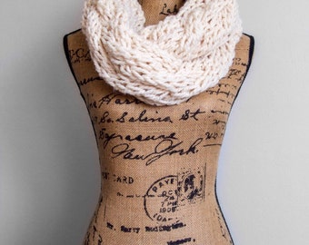 GIANT Cable Knit infinity scarf in Vanilla Sparkle | Ready to Ship