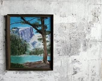 Vintage Framed Mountain Lake Painting