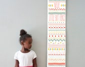 Custom/ Personalized Little But Fierce tribal print canvas growth chart - perfect for girl's room or nursery!