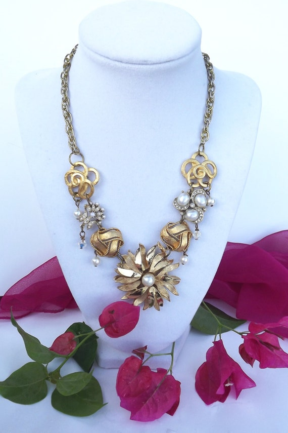 BLOSSOM, a Vintage Jewelry Collage Necklace, a combination of repurposed vintage jewelry and new pieces