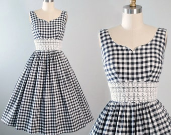 Vintage 50s Cotton Dress / 1950s CANDI JONES Black White Sundress Plaid Gingham Checks Floral Embroidered Lace Full Skirt Garden Party Small