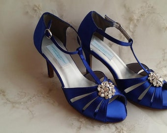 Cobalt Blue Wedding Shoes with swirl flower brooch Blue Bridal Shoes Blue Bridesmaid Shoes - Over 100 Color Choices Vegan Wedding Shoes